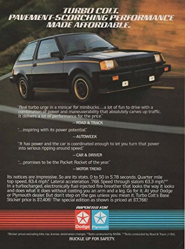 Magazine Print Ad: Black 1984 Dodge Turbo Colt Special edition, 7766,