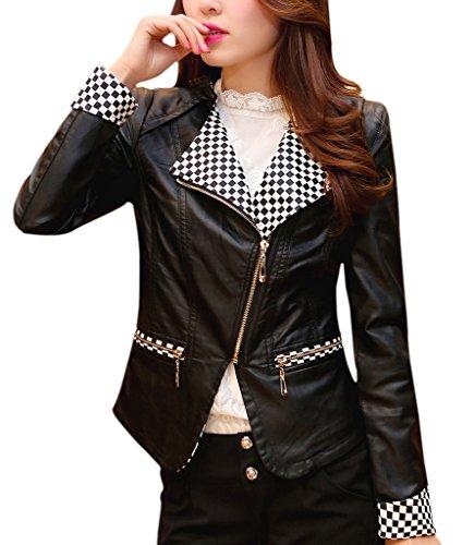 Bigood Veste Moto Femme Faux Cuir Manteau Court Manches Longues Zip Noir