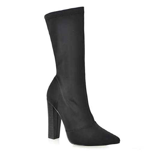 Shoe Republic CherryMad Genetic Stretchy Pointy Toe Ankle High Round Block Heel Boot Bootie