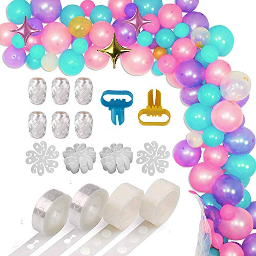 XP-Art Balloon Decorating Strip Kit for Arch Garland 32.8Ft Balloon Tape Strip,2 Pcs Tying Tool, 200 Dot Glue, 20 Flower Clip,6 Roll White Ribbon for Wedding Birthday Baby Shower Christmas Party ()
