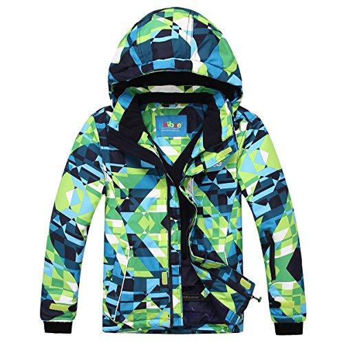 PHIBEE Mens Waterproof Windproof Outdoor Fleece Ski Jacket Print XXL
