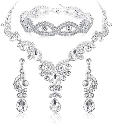 ORAZIO Crystal Wedding Bridal Jewelry Set for Women Rhinestone Necklace Dangle Earring Bracelet for Bride Bridemaids (D:Clear Silver-Tone Necklace Bracelet Earrings)