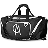Gym Duffel Bag, CHICMODA Waterproof Travel Athletic Sports Shoulder Bag – (Black/White) For Sale