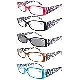 Eyekepper Spring Hinge Plastic Floral Design Reading Glasses (5 Pack) Includes Sunglass Readers Women +1.0