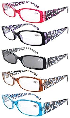 Eyekepper Spring Hinge Plastic Floral Design Reading Glasses (5 Pack) Includes Sunglass Readers Women - 0.75 Sunglasses