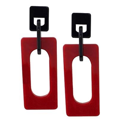 Baosity Pendientes de Rectángulo Diseño Moderno Accesorios para Mujer - Rojo: Juguetes y juegos