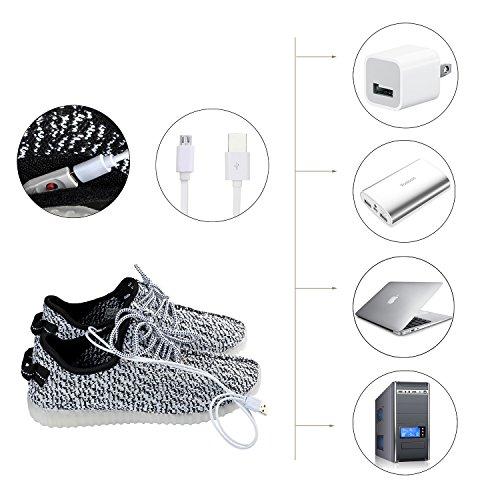 Shinmax Illuminare Scarpe, Scarpe Led Scarpe Sneakers Traspiranti 7 Colori Scarpe Leggere Per Uomo E Donna, Scarpe Per Bambini Maglia Bianca