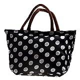 LUQUAN Waterproof Picnic Lunch Bag Case Tote Reusable Bags Travel Zipper Organizer Box For Women Men Kids Girls Boys Adults (Polka Dot Black&White)