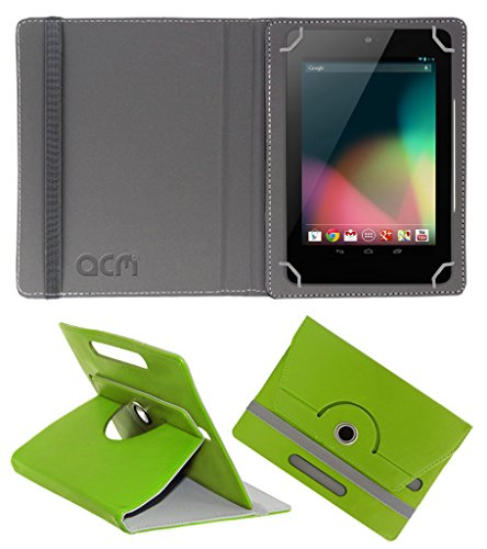 Acm Rotating 360 Leather Flip Case Compatible with Asus Google Nexus 7 2012 Cover Stand Green
