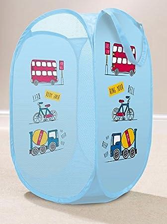 Kids Design Pop Up Laundry Hamper Basket Bathroom, Bedroom Toys Storage Bin (Butterflies Flowers - Purple) NCS