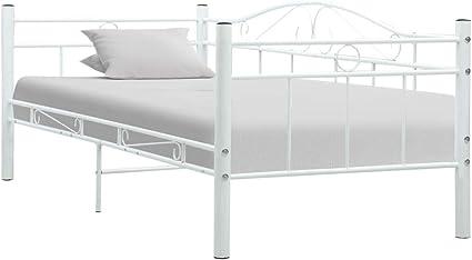 vidaXL Estructura de Cama de Metal Estructura Somier de Cama de Metal sin Colchón en Habitación en Dormitorio Blanco 90x200 cm