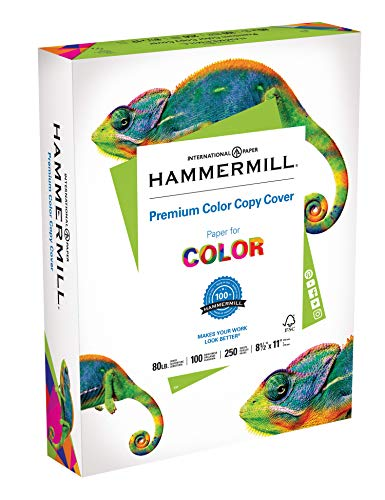 Hammermill Paper, Premium Color Copy Cover Cardstock 8.5 x 11 Paper, Letter Size, 80lb Paper, 100 Bright, 1 Pack / 250 Sheets (120023R) Heavy Paper, Card Stock White ()