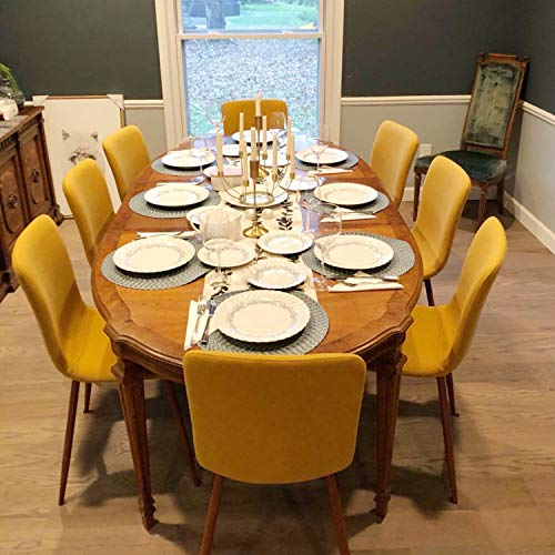 Coavas Set of 4 Dining Chairs Fabric Cushion Kitchen Side Chairs with Sturdy Metal Legs for Dining Room, Yellow by Coavas (Image #9)
