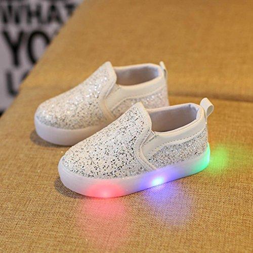 OverDose Mädchen LED Luminous Sneakers, Mode Baby Mädchen Jungen Turnschuhe LED Leuchtende Kinder Kleinkind beiläufige Bunte Helle Schuhe Weiß