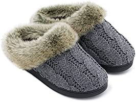 Women's Soft Yarn Cable Knit Slippers Memory Foam Anti-Skid Sole House Shoes w/Faux Fur Collar, Indoor & Outdoor (X-Large / 11-12 B(M) US, Light Gray)