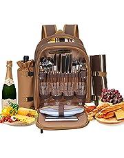 Kacsoo 4-osobowy zestaw plecaków piknikowych z izolowaną przestrzenią chłodzącą przenośny plecak piknikowy z kocem polarowym dla rodziny, na kemping