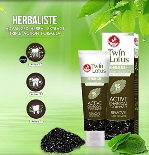 [TWIN LOTUS ACTIVE CHARCOAL TOOTHPASTE HERBALISTE Triple Action Power 150g (5 Oz) X 1 Tube] (Bad Habit Costumes)