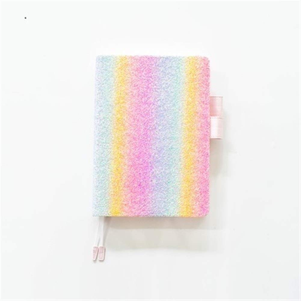 Steno Notebooks Cute Glitter Notebook Journal Cover for A6 A5 Notebook Diary Planner Agenda Travel Journal Bullet Journal Wirebound Notebooks (Color : Rainbow Color, Size : A6) by Love lamp