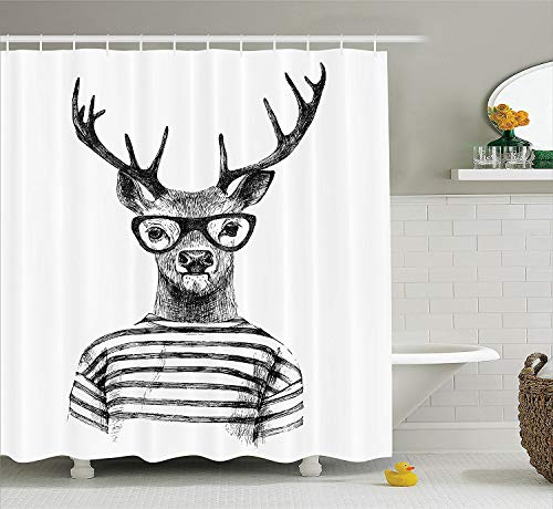 Ambesonne Deer Decor Collection, Dressed Up Deer Reindeer Headed Human Hipster Style with Glasses Striped Shirt Design, Polyester Fabric Bathroom Shower Curtain, 84 Inches Extra Long, Black - Shower Hipster Curtain