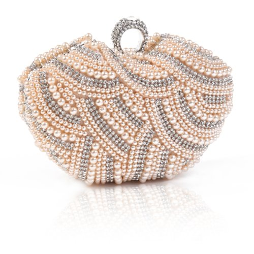 Damara Womens Luxury Special Crystals Beaded Pearl Clutch Bag,Champagne (Evening Beaded Pink Bag)