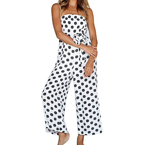 LIM&Shop Women Summer Jumpsuit Spaghetti Strap Romper Cami Top Polka Dots Waist Belted Wide Leg Playsuit Cropped Pants White