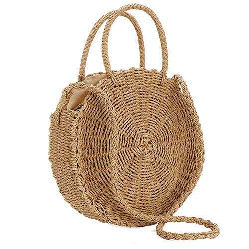 Ladies summer straw handbags brown