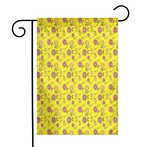 Mannwarehouse Yellow Garden Flag Simple Childish Doodle Style Flowers with Leaves Childish Artistic Fun Kids Design Premium Material W12 x L18 Multicolor
