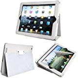 Magnetic Smart Case Cover For Apple ipad 4 / iPad 2 / iPad 3, 2nd, 3rd & 4th Generation with FREE screen protector - Supreme Quality (White)