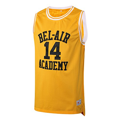 MM MASMIG Will Smith 14 The Fresh Prince of Bel Air Academy Basketball Jersey S-XXL Yellow (XL, Yellow)