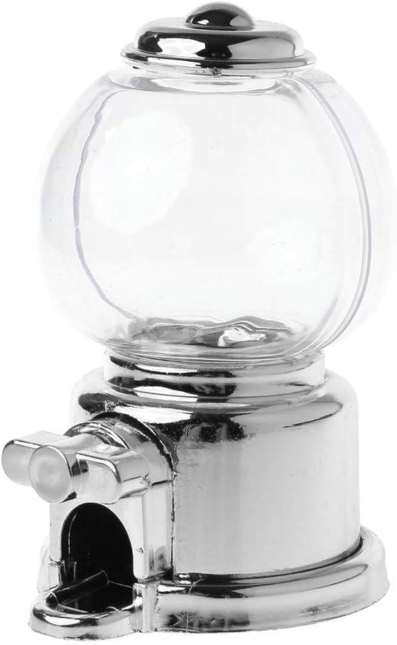 Hergon - Dispensador de dulces práctico, máquina de bolas de chicle, caja de almacenamiento para monedas, regalo para niños, juguete para bebé 3.94inx4.72inx5.12in plata