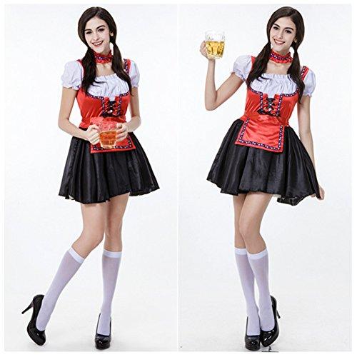 Fashionanna Womens Bavarian Beer Girl Maid Sexy Oktoberfest Fancy Dress Costume (XL) (Bar Maid Halloween Costume)