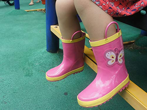 Product image of MOFEVER Toddler Girls Kids Rain Boots Rubber Waterproof Shoes Printed Lovely Pink Butterfly Animal Pattern Pads Cute Easy On Handles (Size 5,Pink)