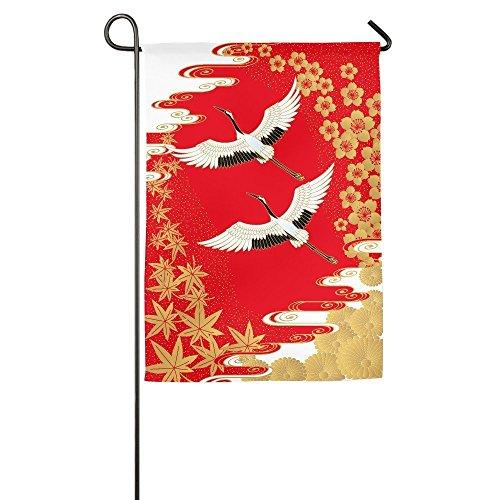 Garden Flag Japanese Cranes Floral Outdoor Yard Lucky Flag 12 x 18/18 x 27 (Lucky Crane)