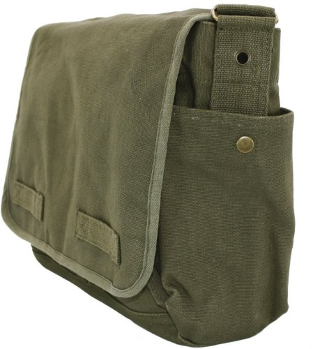 Olive Green Original Heavyweight Classic Military Messenger Bag with Army  Universe Pin 59586dacd33