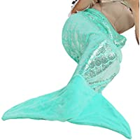 LANGRIA Glittering Flannel Mermaid Tail Blanket and...