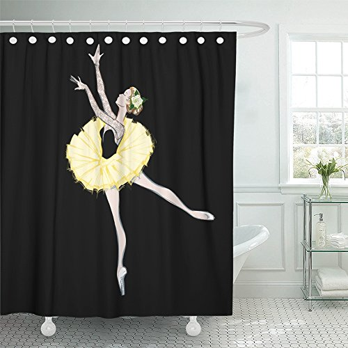 Emvency Decor Shower Curtain Free Hand Drawing of Ballerina Ballet Dancer Girl Freehand Sketch Classical Dance Costume Sketched 66