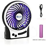 Mini Desk Fan, Yacig Rechargeable Desktop Fan, Adjustable 3 Level Wind Speeds with Update 2600mAh Rechargeable Battery and Decoration Light ,4.5 - Black