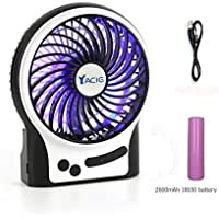 Yacig Mini Desk Fan, Rechargeable Desktop Fan, Adjustable 3 Level Wind Speeds with Update 2600mAh Rechargeable Battery and Decoration Light,4.5 - Black