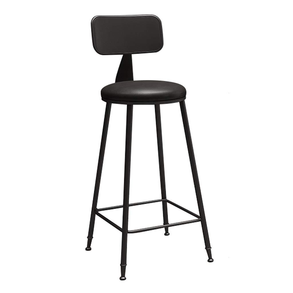 Black frame Sitting 75cm Fashion Wrought Iron Bracket Bar Stool Kitchen Breakfast Stool Chair White Black Leg Sponge Pad Design (Sitting Height  45 65   75cm)