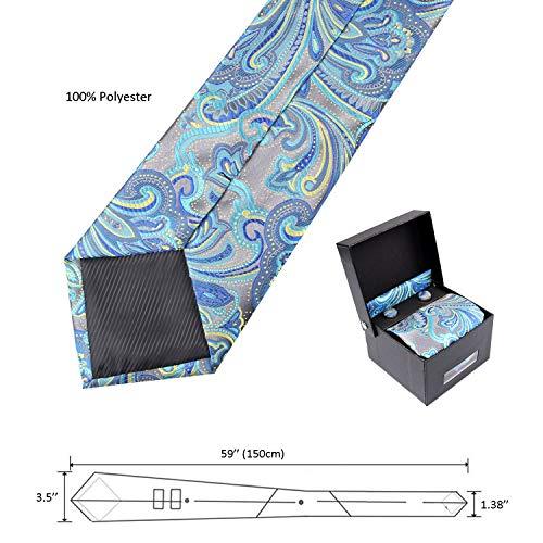 Bleu Lot Turquoise Homme Manchette Marine Pochette Violet Alizeal De Boutons cravate TFaWq658w