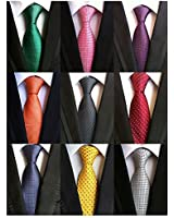 Adulove Men's Necktie Classic Silk Tie Woven Jacquard Neck Ties 6/9 PCS
