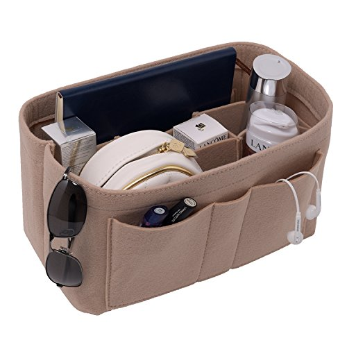 Felt Insert Bag Organizer Purse Organizer, Handbag Bag in Bag for Speedy Neverful Longchamp, Beige(style 1), Medium