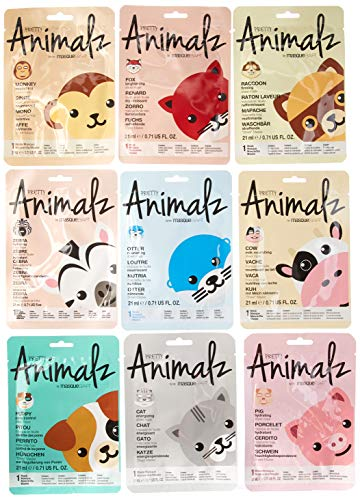 Firming Facial Peel Off Mask - masque Bar 9 Piece Pack Mask Bundle, Pretty Animalz Sheet, 0.45 Pound