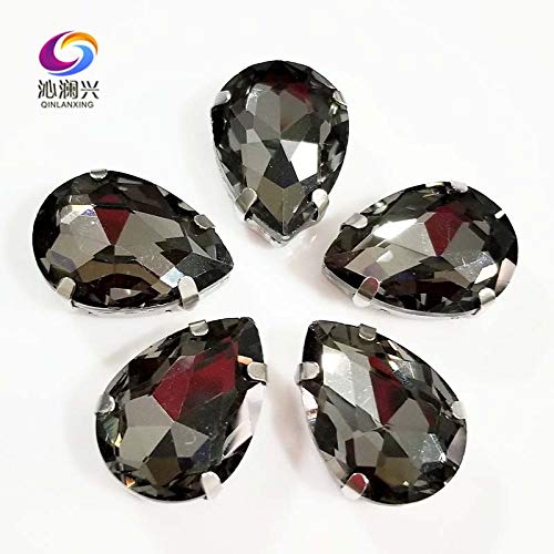 Pukido Gray Color Teardrop Shape AAAA Glass Crystal sew on Rhinestones,DIY Clothing Accessories SWS03 - (Size: 13x18mm 20pcs)