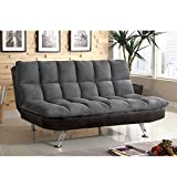 Cheap Pearington Microfiber with Leatherette Futon Sofa, Tigray Gray