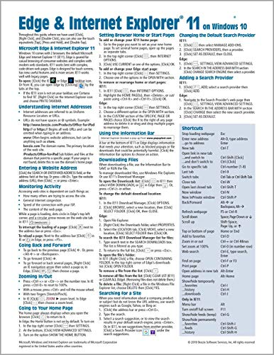 Microsoft Edge and Internet Explorer 11 for Windows 10 Quick Reference Guide (Cheat Sheet of Instructions, Tips & Shortcuts - Laminated Card) Updated Summer 2018