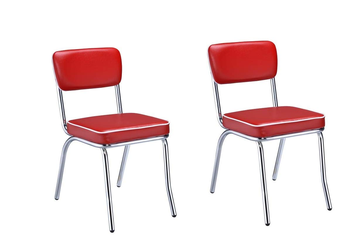 Retro Side Chairs with Black Cushion Chrome and Red (Set of 2) by Coaster Home Furnishings
