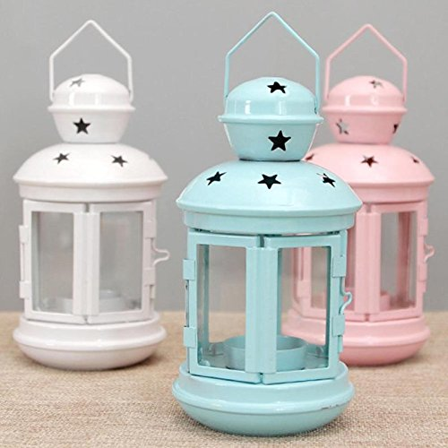 Katoot Outdoor Windproof candlestick lanterns lights wedding celebrations birthday hotel candle table Decoration Home desktop Decor (Pink)