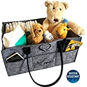 Baby Diaper Nursery Caddy Organizer-Gray, Large, Water Resistant Liner, Must Have Newborn Nursery Essentials for Boys Or Girls, Baby Shower Gift Basket and Registry, Storage and Baby car Caddy