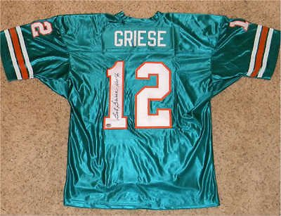Bob Griese Autographed Signed Miami Dolphins #12 Throwback Jersey (authenticated by Mounted Memories) with ' HOF 90 ' - Miami Dolphins Throwback Jersey